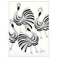 'Cheerful Peacocks' - Signed Modern Painting of Peacocks from Brazil