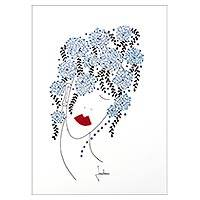 'Blue Floral Head' - Signed Painting of a Woman with Floral Hair from Brazil