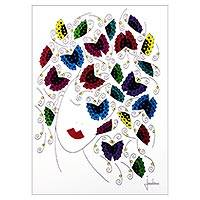 'Butterflies in the Wind' - Modern Signed Pen and Ink Woman's Portrait with Butterflies