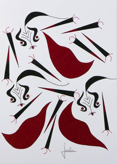'Bullfighting' - Signed Modern Abstract Painting from Brazil