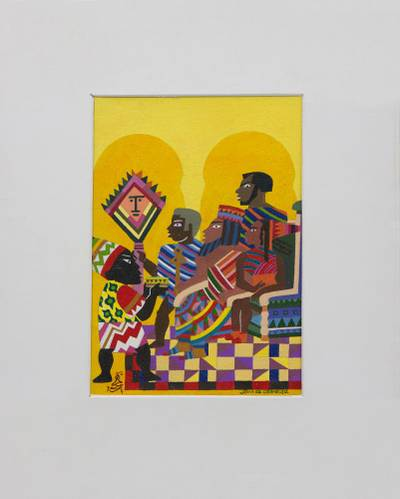 'The Council of Jamaican Sages' (1994) - Signed Expressionist Painting (1994) from Brazil