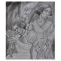 'The Seamstresses' - Signed Charcoal Drawing of Seamstresses from Brazil
