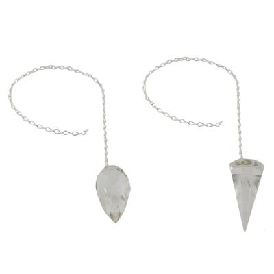 Quartz pendulums, 'Purifying Geometry' (pair) - 2 Crystal Quartz Pendulums on Brass Chains from Brazil