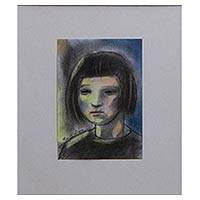 'Thoughtful Aurora' - Signed Expressionist Portrait Painting from Brazil