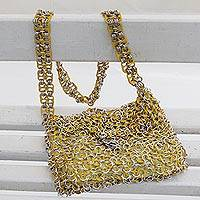 Soda pop-top hobo bag, 'Shimmery Yellow' - Handcrafted Aluminum Soda Pop-Top Hobo Bag from Brazil