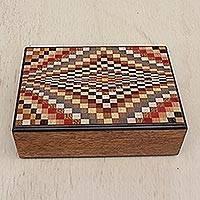 Wood jewelry box, 'Brazilian Pixels' - Wood Jewelry Box with Colorful Inlay Motifs from Brazil