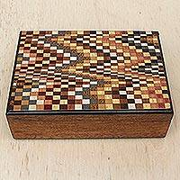 Wood jewelry box, 'Pixel Waves' - Wood Jewelry Box with Square Inlay Motifs from Brazil