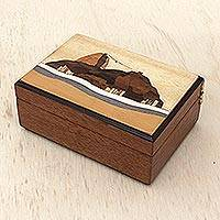 Wood jewelry box, 'Treasure of Sugarloaf Mountain' - Handcrafted Wood Inlay Jewelry Box with Landscape Scene