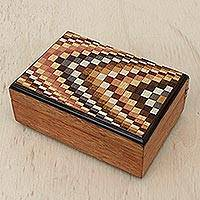 Wood jewelry box, 'Mesmerizing Checkers' - Wood Jewelry Box with Marquetry Motifs from Brazil