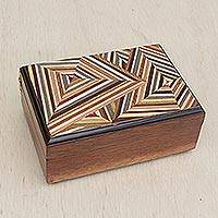 Wood jewelry box, 'Geometry Dream' - Wood Jewelry Box with Colorful Geometric Motifs from Brazil