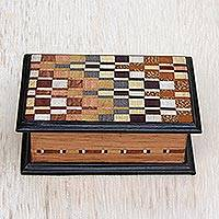 Inlaid wood jewelry box, 'Handsome Geometry' - Wood Jewelry Box with Inlaid Motifs from Brazil