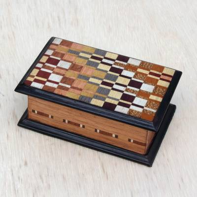 Unicef Market Wood Jewelry Box With Inlaid Motifs From Brazil Handsome Geometry