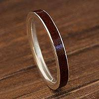 Silver and wood band ring, 'Fine Alliance in Brown' - Silver and Brown Jacaranda Wood Band Ring from Brazil