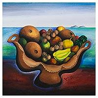 'Still Life with Starfruit and Pitomba' - Original Still Life Painting of Brazilian Tropical Fruit