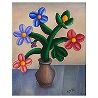 'Naive' - Brazilian Naive Floral Still Life Painting in Oils on Canvas