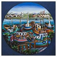 'Marina with Boats' - Porthole Sea Scene Painting of the Brazilian Coast
