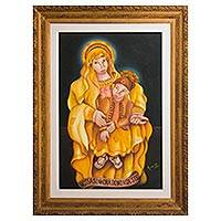 'Our Lady of the Northeast' (2000) - Expressionist Painting of the Virgin Mary with Baby Jesus