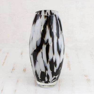 Art glass vase, 'Elegant Drip' - Hand Blown Murano-Style Art Glass Vase in Black and White