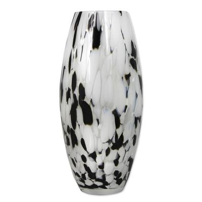Art glass vase elegant drip hand blown murano style art glass