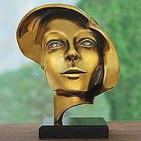 Bronze sculpture, 'Dreamer' - Signed Bronze Abstract Face Sculpture from Brazil
