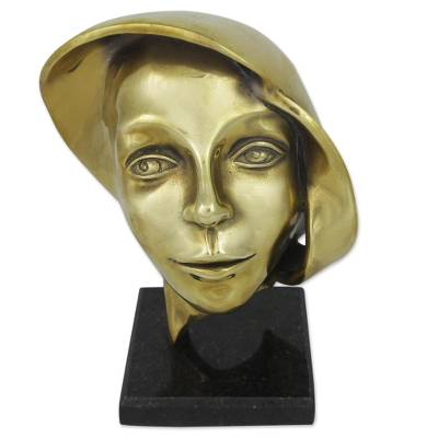 Signed Bronze Abstract Face Sculpture from Brazil