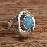 Aquamarine cocktail ring, 'Modern Ocean' - Aquamarine and Silver Modern Cocktail Ring from Brazil