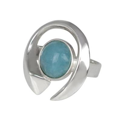 Aquamarine and Silver Modern Cocktail Ring from Brazil
