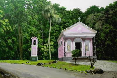 'Mayrink Chapel' - Signed Realist Painting of a Chapel from Brazil