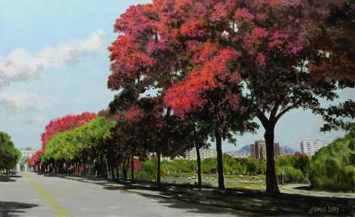 'Central Avenue - Quinta da Boa Vista' - Signed Impressionist Painting of a Tree-Lined Road