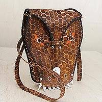 Leather sling, 'Stunning Alligator' - Handcrafted Leather Alligator Sling Handbag from Brazil
