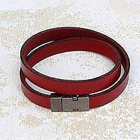 Leather wrap bracelet, 'Red Path' - Red Leather Stylish Wrap Bracelet from Brazil