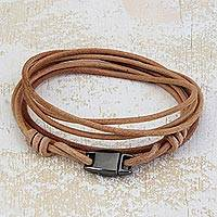 Leather wrap bracelet, 'Natural Coil' - Handcrafted Beige Leather Wrap Bracelet from Brazil