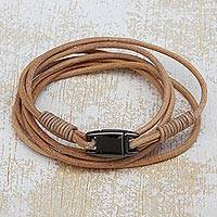 Leather wrap bracelet, 'Natural Champion' - Handcrafted Leather Wrap Bracelet in Beige from Brazil