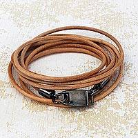 Leather wrap bracelet, 'Natural Satellite' - Stylish Leather Wrap Bracelet in Beige from Brazil