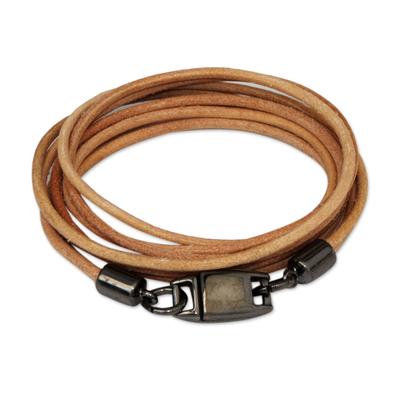 Leather wrap bracelet, 'Natural Satellite' - Stylish Leather Wrap Bracelet in Beige from Brazil