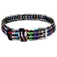 Soda pop-top belt, 'Heavenly Pastel in Black' - Pastel-Colored Recycled Soda Pop-Top Belt from Brazil