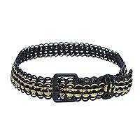 Soda pop-top belt, 'Golden Midnight' - Black and Gold-Tone Soda Pop-Top Belt from Brazil