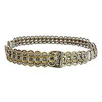 Soda pop-top belt, 'Gold Chain Mail' - Gold-Tone Recycled Soda Pop-Top Belt from Brazil