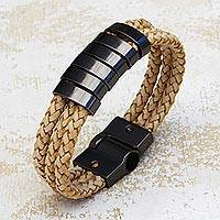 Leather wristband bracelet, 'Three Braids' - Beige Braided Leather Wristband Bracelet from Brazil