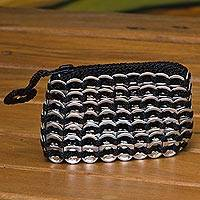 Soda pop-top coin purse, 'Precious Silver' - Silver-Tone Recycled Soda Pop-Top Coin Purse from Brazil