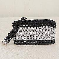 Soda pop-top wristlet, 'Fashionable Two-Tone' - Soda Pop-Top Wristlet in Black and Silver from Brazil
