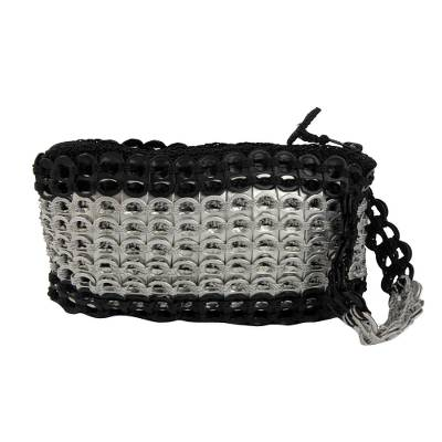 Soda Pop-Top Wristlet in Black and Silver from Brazil