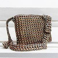 Soda pop-top sling, 'Precious Chic' - Handcrafted Metallic Soda Pop-Top Sling from Brazil