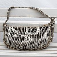 Soda pop-top hobo bag, 'Glittering Wishes' - Handcrafted Silver-Tone Soda Pop-Top Hobo Bag from Brazil