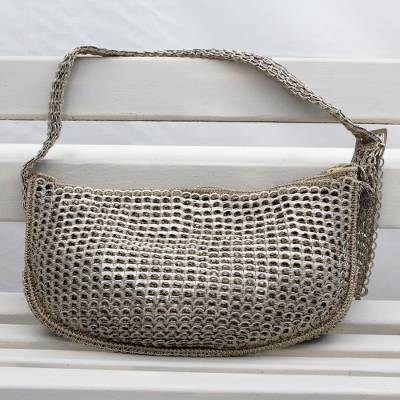 Handcrafted Silver-Tone Soda Pop-Top Hobo Bag from Brazil ... a99ae2158258f