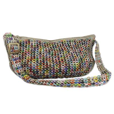 Soda pop-top hobo bag, 'Colorful Wishes' - Handcrafted Colorful Soda Pop-Top Hobo Bag from Brazil