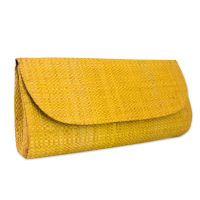 Palm leaf clutch, 'Exotic Woman' - Handwoven Palm Leaf Clutch in Yellow from Brazil