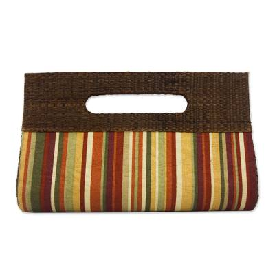 Palm leaf accent cotton clutch, 'Jungle Colors' - Striped Cotton and Palm Leaf Clutch from Brazil
