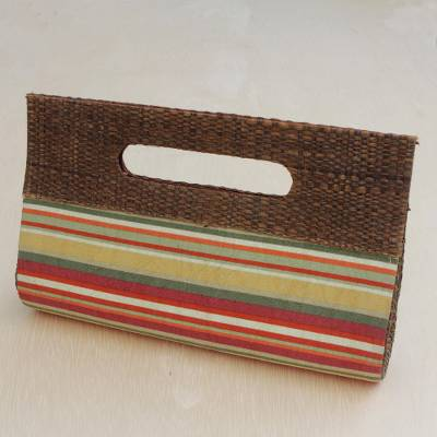 Palm leaf accent cotton clutch, 'Jungle Stripes' - Striped Palm Leaf Accent Cotton Clutch from Brazil