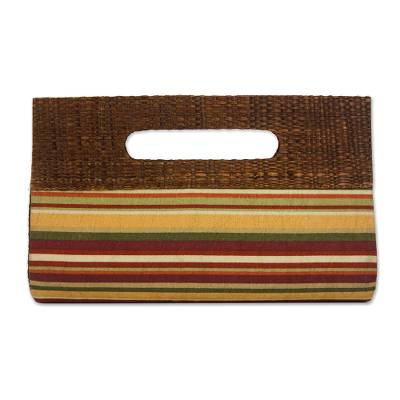 Striped Palm Leaf Accent Cotton Clutch from Brazil